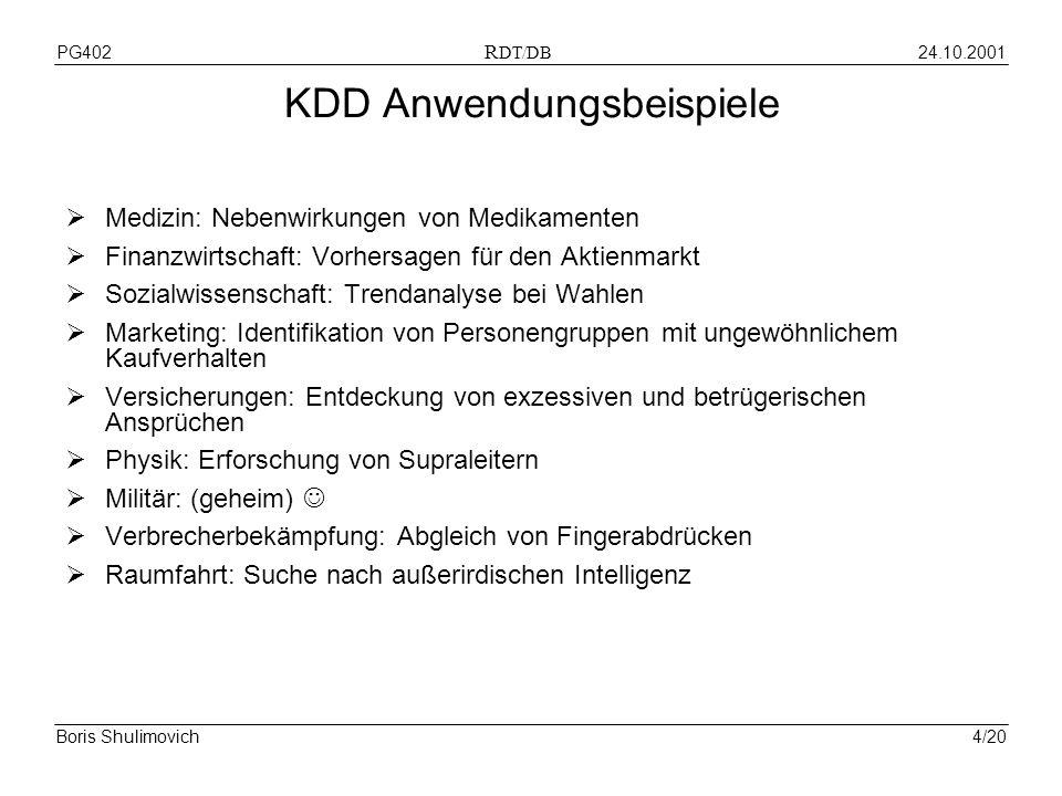 24.10.2001PG402 R DT/DB Boris Shulimovich4/20 KDD Anwendungsbeispiele Medizin: Nebenwirkungen von Medikamenten Finanzwirtschaft: Vorhersagen für den A
