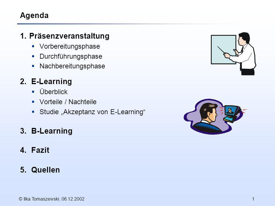 © Ilka Tomaszewski, 06.12.20021 Agenda 1.Präsenzveranstaltung Vorbereitungsphase Durchführungsphase Nachbereitungsphase 2.