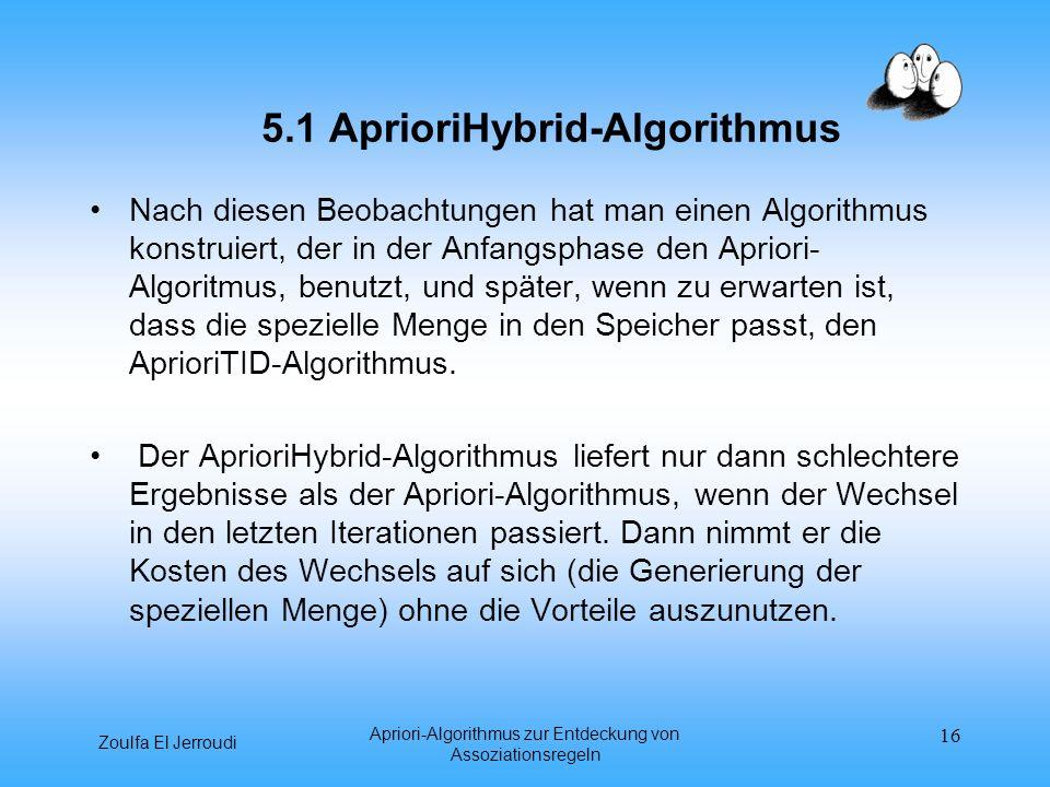 Zoulfa El Jerroudi Apriori-Algorithmus zur Entdeckung von Assoziationsregeln 16 5.1 AprioriHybrid-Algorithmus Nach diesen Beobachtungen hat man einen