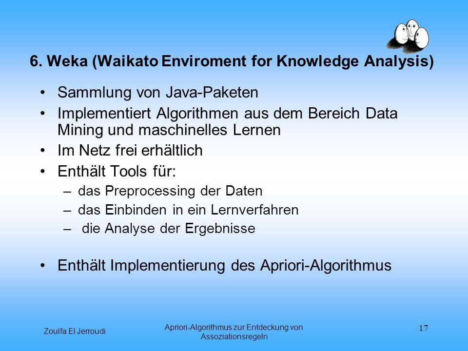 Zoulfa El Jerroudi Apriori-Algorithmus zur Entdeckung von Assoziationsregeln 17 6. Weka (Waikato Enviroment for Knowledge Analysis) Sammlung von Java-