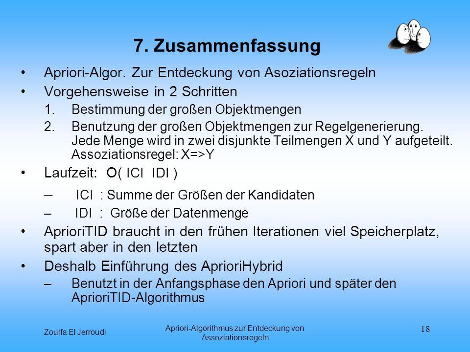 Zoulfa El Jerroudi Apriori-Algorithmus zur Entdeckung von Assoziationsregeln 18 7. Zusammenfassung Apriori-Algor. Zur Entdeckung von Asoziationsregeln