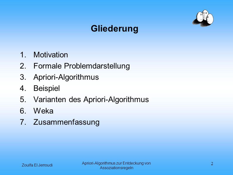 Zoulfa El Jerroudi Apriori-Algorithmus zur Entdeckung von Assoziationsregeln 2 Gliederung 1.Motivation 2.Formale Problemdarstellung 3.Apriori-Algorith