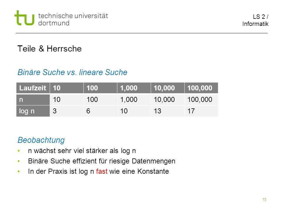 LS 2 / Informatik 15 Teile & Herrsche Binäre Suche vs.