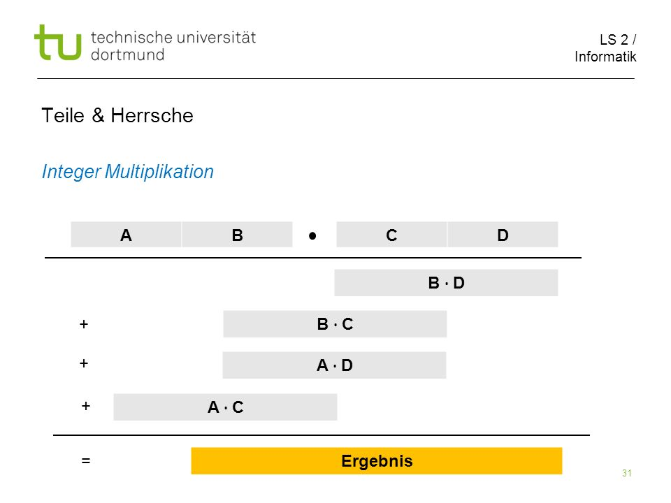 LS 2 / Informatik 31 Teile & Herrsche Integer Multiplikation AB CD B D B C A D A C Ergebnis + + + =