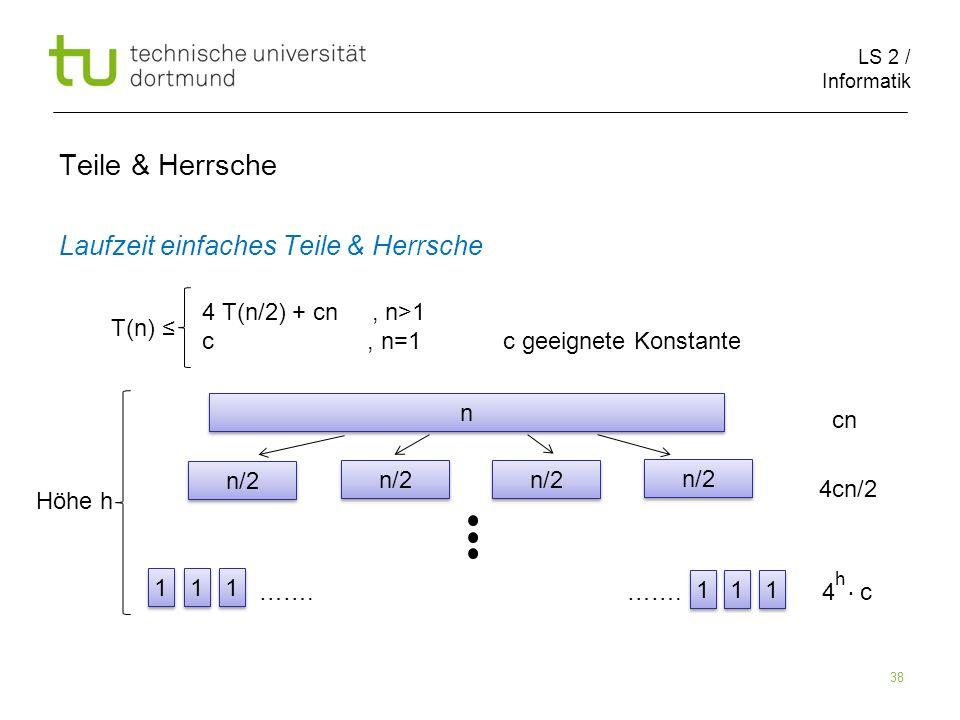 LS 2 / Informatik 38 Teile & Herrsche Laufzeit einfaches Teile & Herrsche cn 4cn/2 ……. ……. 4 c T(n) 4 T(n/2) + cn, n>1 c, n=1 c geeignete Konstante n