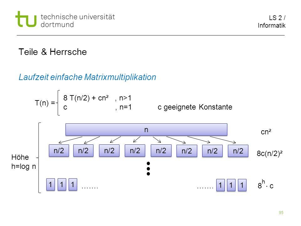 LS 2 / Informatik 95 Teile & Herrsche Laufzeit einfache Matrixmultiplikation cn² 8c(n/2)² ……. ……. 8 c T(n) = 8 T(n/2) + cn², n>1 c, n=1 c geeignete Ko