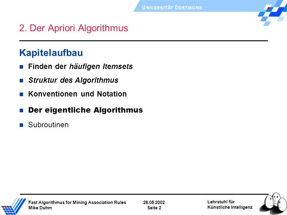 Fast Algorithmus for Mining Association Rules28.05.2002 Mike DuhmSeite 2 Lehrstuhl für Künstliche Intelligenz 2. Der Apriori Algorithmus Kapitelaufbau