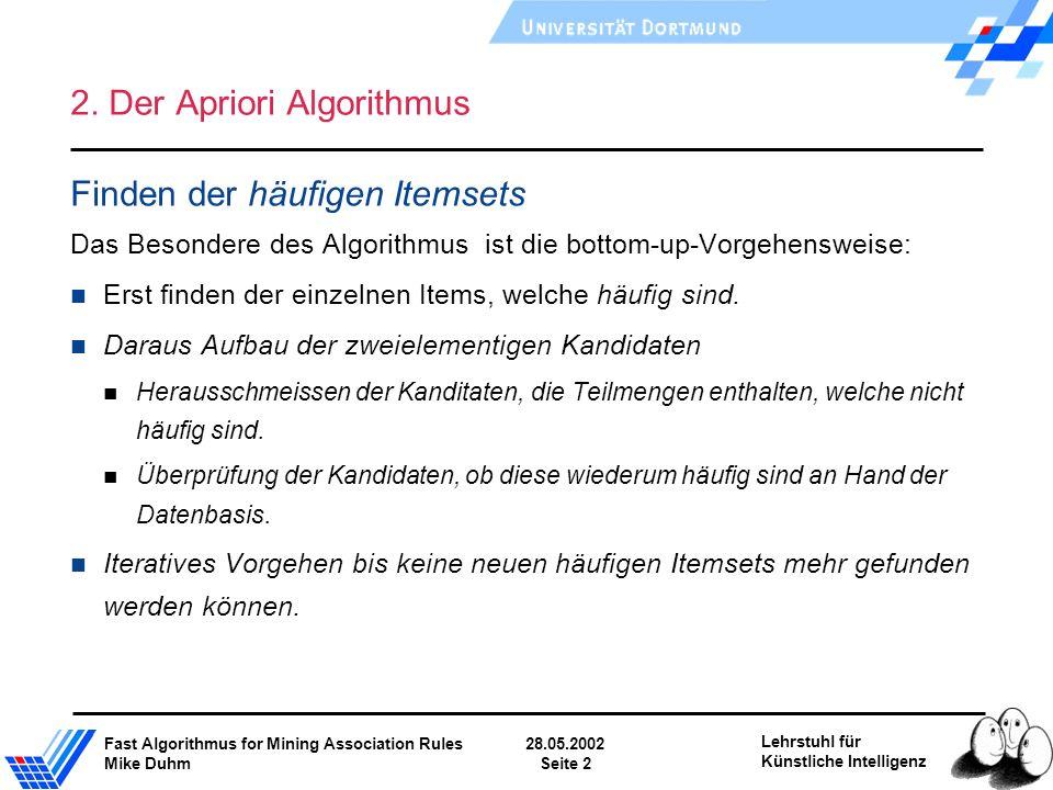 Fast Algorithmus for Mining Association Rules28.05.2002 Mike DuhmSeite 2 Lehrstuhl für Künstliche Intelligenz 2. Der Apriori Algorithmus Finden der hä