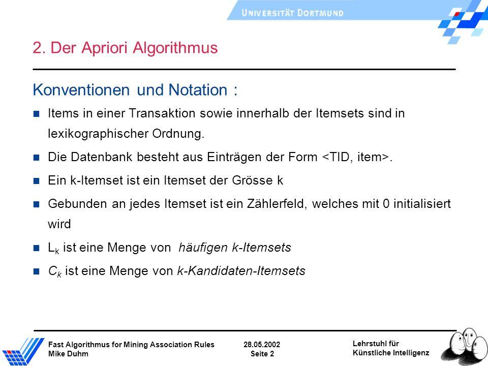 Fast Algorithmus for Mining Association Rules28.05.2002 Mike DuhmSeite 2 Lehrstuhl für Künstliche Intelligenz 2. Der Apriori Algorithmus Konventionen