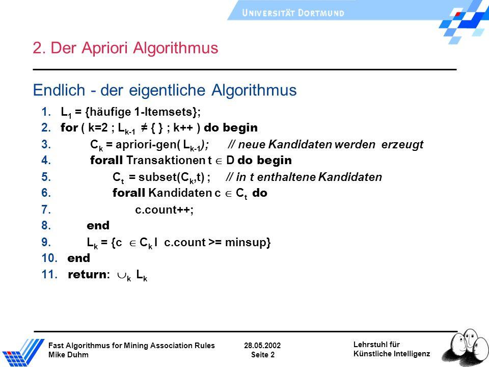 Fast Algorithmus for Mining Association Rules28.05.2002 Mike DuhmSeite 2 Lehrstuhl für Künstliche Intelligenz 2. Der Apriori Algorithmus Endlich - der