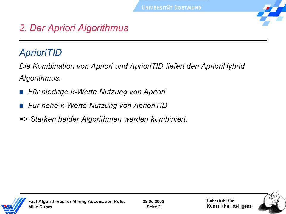Fast Algorithmus for Mining Association Rules28.05.2002 Mike DuhmSeite 2 Lehrstuhl für Künstliche Intelligenz 2. Der Apriori Algorithmus AprioriTID Di