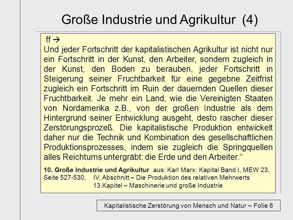 Große Industrie und Agrikultur (4) ff Und jeder Fortschritt der kapitalistischen Agrikultur ist nicht nur ein Fortschritt in der Kunst, den Arbeiter,