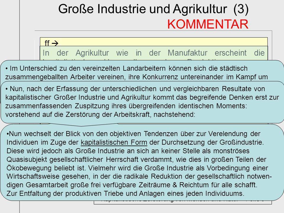 ff In der Agrikultur wie in der Manufaktur erscheint die kapitalistische Umwandlung des Produktionsprozesses zugleich als Martyrologie der Produzenten
