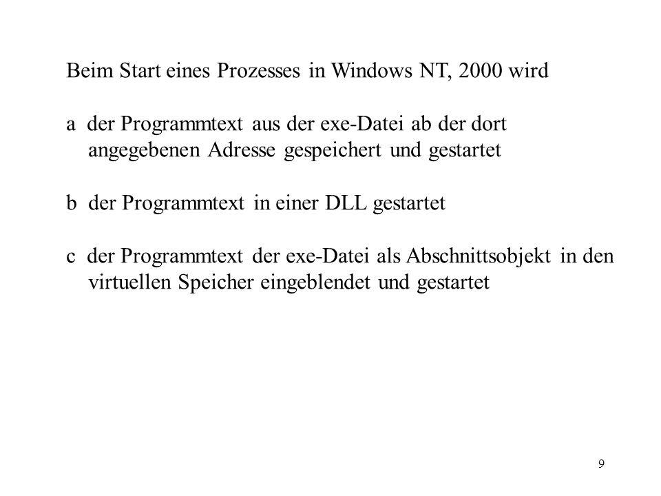 9 Beim Start eines Prozesses in Windows NT, 2000 wird a der Programmtext aus der exe-Datei ab der dort angegebenen Adresse gespeichert und gestartet b der Programmtext in einer DLL gestartet c der Programmtext der exe-Datei als Abschnittsobjekt in den virtuellen Speicher eingeblendet und gestartet