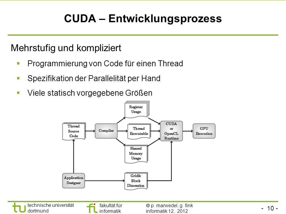- 10 - technische universität dortmund fakultät für informatik p. marwedel, g. fink informatik 12, 2012 CUDA – Entwicklungsprozess Mehrstufig und komp