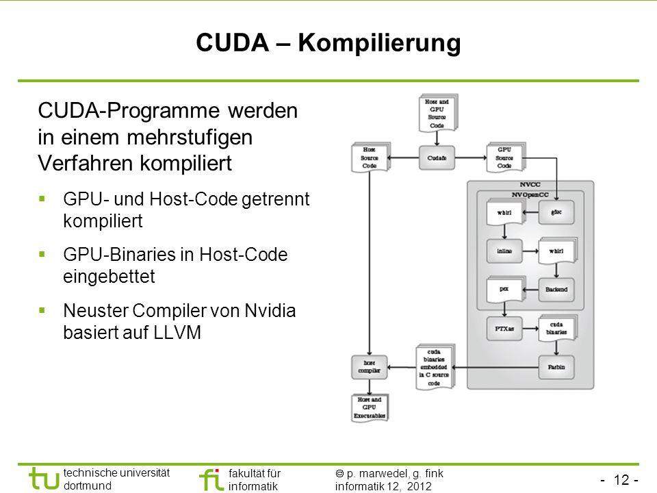 - 12 - technische universität dortmund fakultät für informatik p. marwedel, g. fink informatik 12, 2012 CUDA – Kompilierung CUDA-Programme werden in e