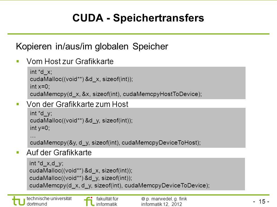 - 15 - technische universität dortmund fakultät für informatik p. marwedel, g. fink informatik 12, 2012 CUDA - Speichertransfers Kopieren in/aus/im gl