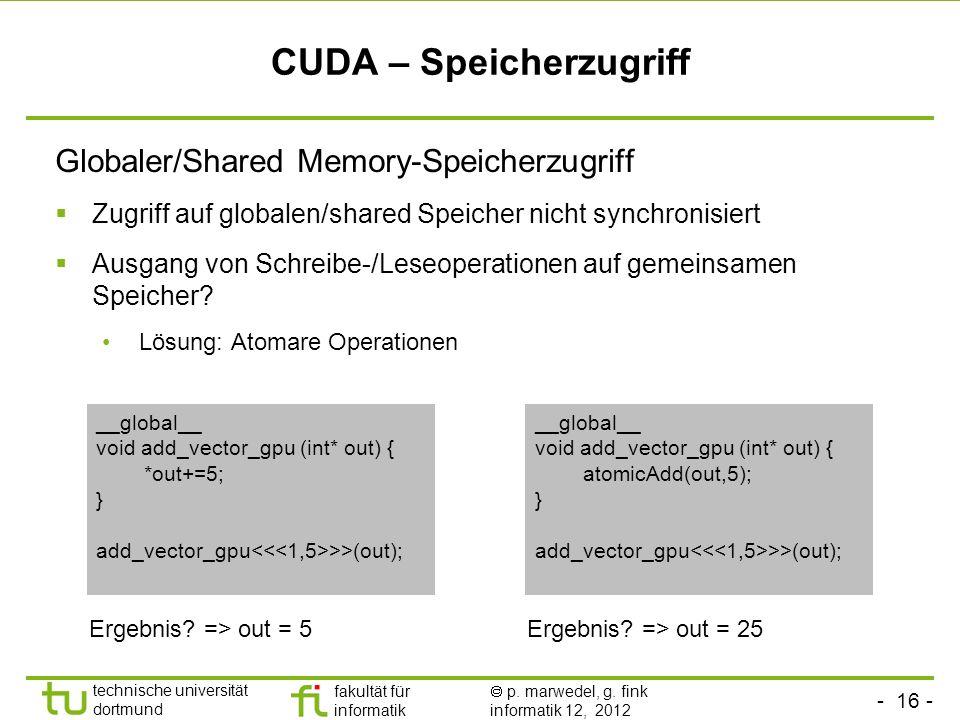 - 16 - technische universität dortmund fakultät für informatik p. marwedel, g. fink informatik 12, 2012 CUDA – Speicherzugriff Globaler/Shared Memory-