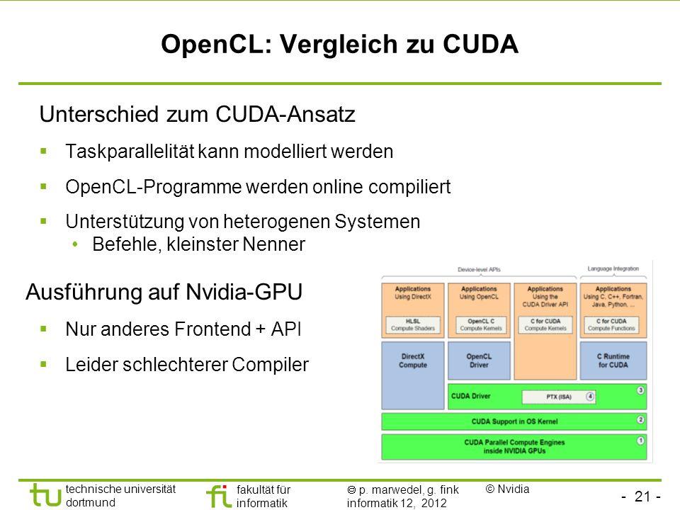 - 21 - technische universität dortmund fakultät für informatik p. marwedel, g. fink informatik 12, 2012 OpenCL: Vergleich zu CUDA Unterschied zum CUDA