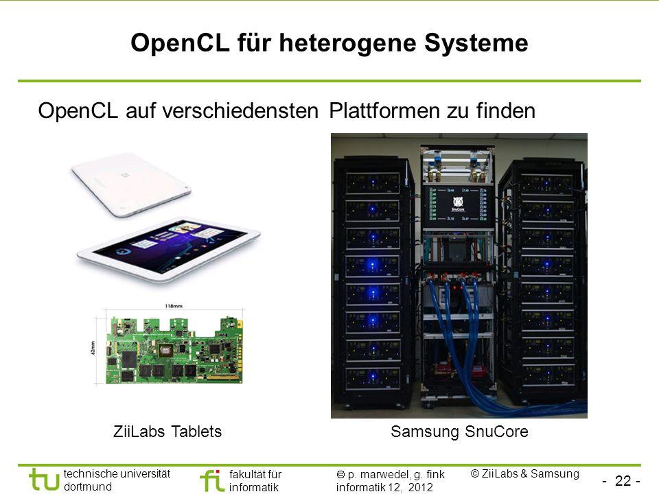 - 22 - technische universität dortmund fakultät für informatik p. marwedel, g. fink informatik 12, 2012 OpenCL für heterogene Systeme OpenCL auf versc