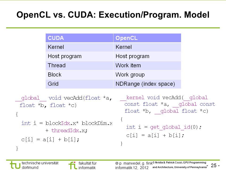 - 25 - technische universität dortmund fakultät für informatik p. marwedel, g. fink informatik 12, 2012 OpenCL vs. CUDA: Execution/Program. Model © Nv