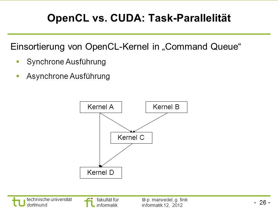 - 26 - technische universität dortmund fakultät für informatik p. marwedel, g. fink informatik 12, 2012 OpenCL vs. CUDA: Task-Parallelität Einsortieru