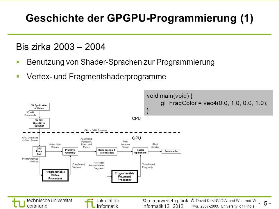 - 5 - technische universität dortmund fakultät für informatik p. marwedel, g. fink informatik 12, 2012 Geschichte der GPGPU-Programmierung (1) Bis zir