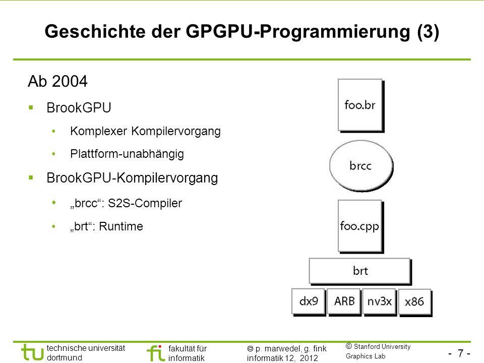 - 7 - technische universität dortmund fakultät für informatik p. marwedel, g. fink informatik 12, 2012 Geschichte der GPGPU-Programmierung (3) Ab 2004
