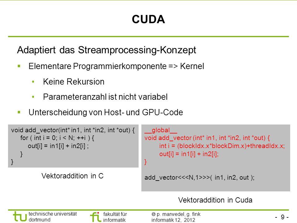 - 9 - technische universität dortmund fakultät für informatik p. marwedel, g. fink informatik 12, 2012 CUDA Adaptiert das Streamprocessing-Konzept Ele