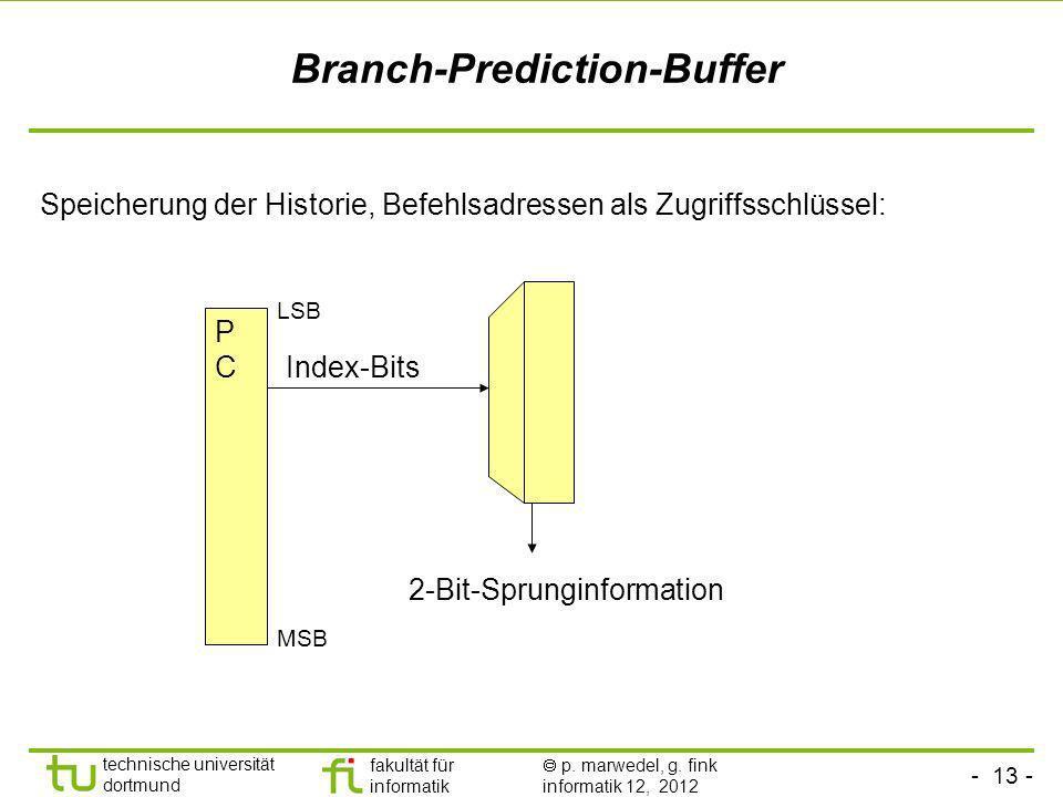 - 13 - technische universität dortmund fakultät für informatik p. marwedel, g. fink informatik 12, 2012 Branch-Prediction-Buffer Speicherung der Histo