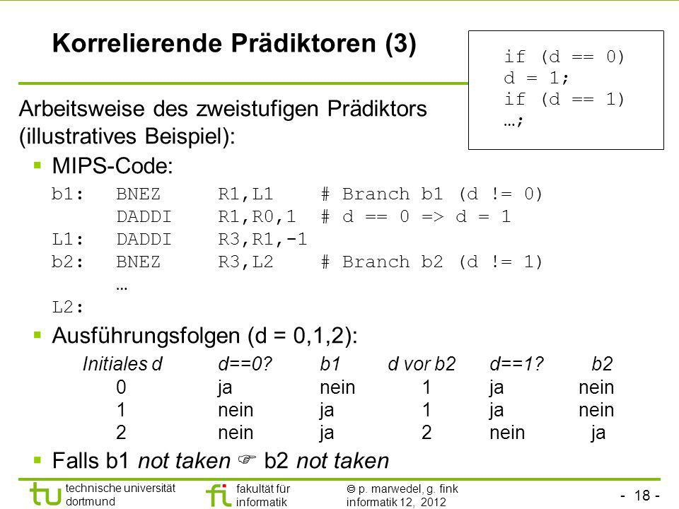 - 18 - technische universität dortmund fakultät für informatik p. marwedel, g. fink informatik 12, 2012 Korrelierende Prädiktoren (3) Arbeitsweise des