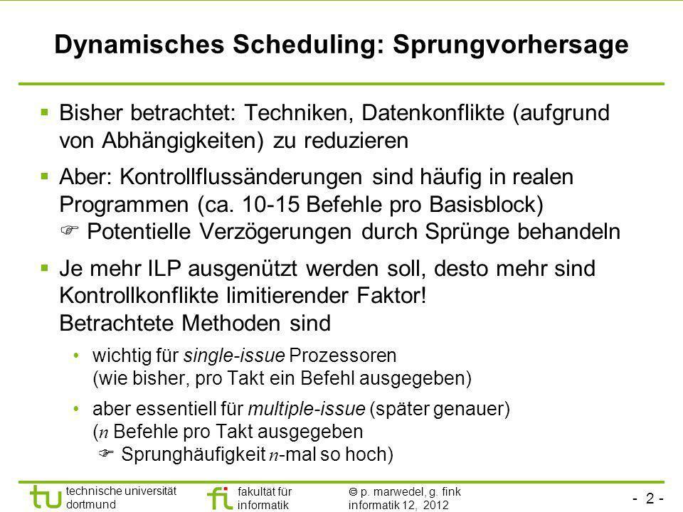 - 2 - technische universität dortmund fakultät für informatik p. marwedel, g. fink informatik 12, 2012 Dynamisches Scheduling: Sprungvorhersage Bisher