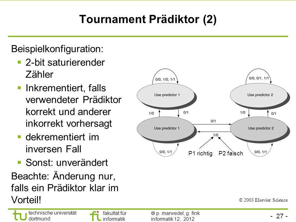 - 27 - technische universität dortmund fakultät für informatik p. marwedel, g. fink informatik 12, 2012 Tournament Prädiktor (2) Beispielkonfiguration