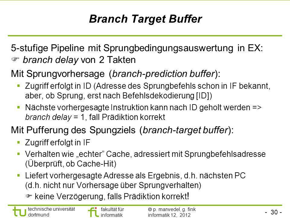 - 30 - technische universität dortmund fakultät für informatik p. marwedel, g. fink informatik 12, 2012 Branch Target Buffer 5-stufige Pipeline mit Sp