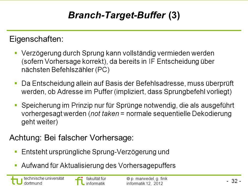- 32 - technische universität dortmund fakultät für informatik p. marwedel, g. fink informatik 12, 2012 Branch-Target-Buffer (3) Eigenschaften: Verzög