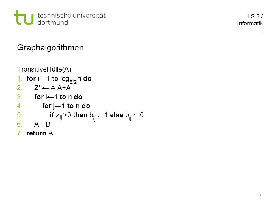 LS 2 / Informatik 15 Graphalgorithmen TransitiveHülle(A) 1.