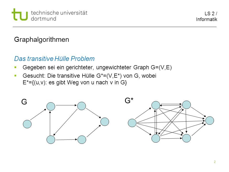 LS 2 / Informatik 2 Graphalgorithmen Das transitive Hülle Problem Gegeben sei ein gerichteter, ungewichteter Graph G=(V,E) Gesucht: Die transitive Hülle G*=(V,E*) von G, wobei E*={(u,v): es gibt Weg von u nach v in G} G G*