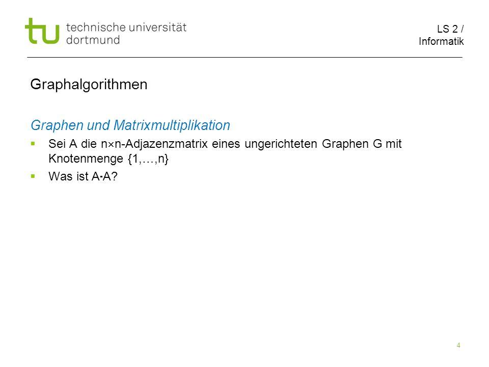 LS 2 / Informatik 25 Breitensuche Graphalgorithmen s 0 1 1 2 2
