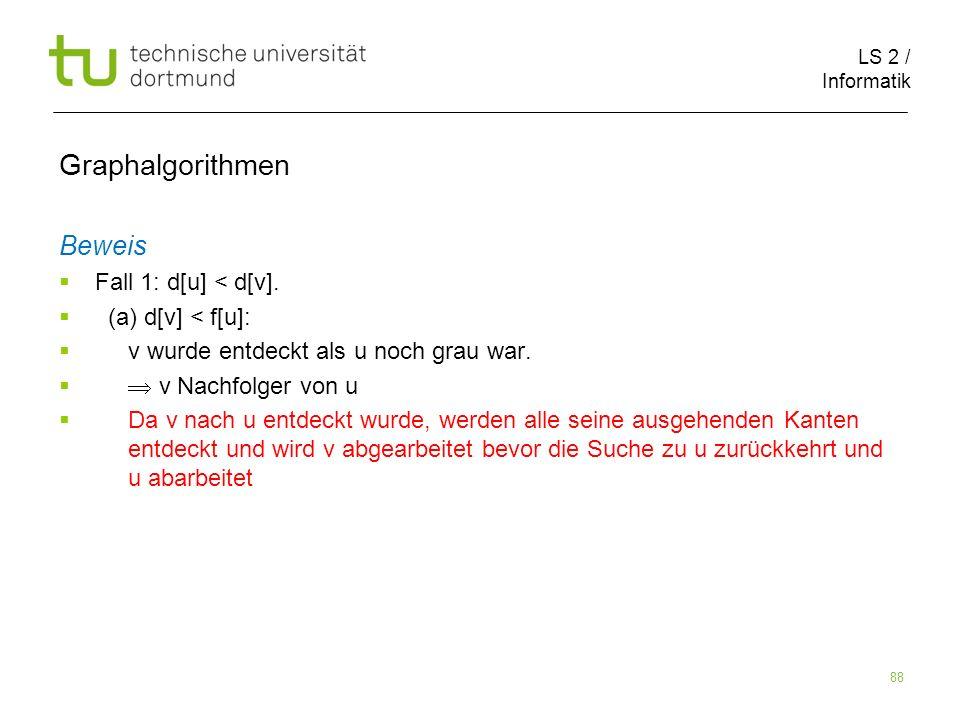 LS 2 / Informatik 88 Beweis Fall 1: d[u] < d[v].