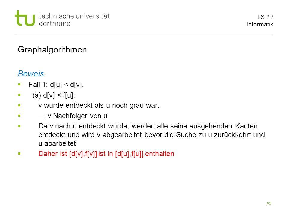 LS 2 / Informatik 89 Beweis Fall 1: d[u] < d[v].
