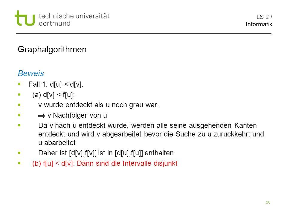 LS 2 / Informatik 90 Beweis Fall 1: d[u] < d[v].