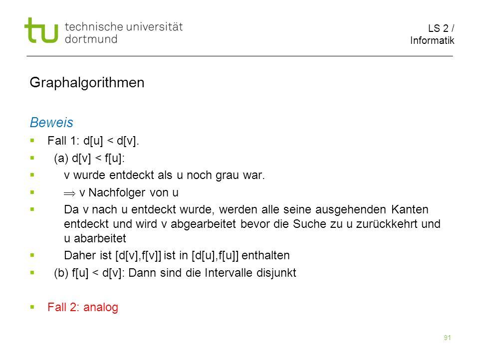LS 2 / Informatik 91 Beweis Fall 1: d[u] < d[v].
