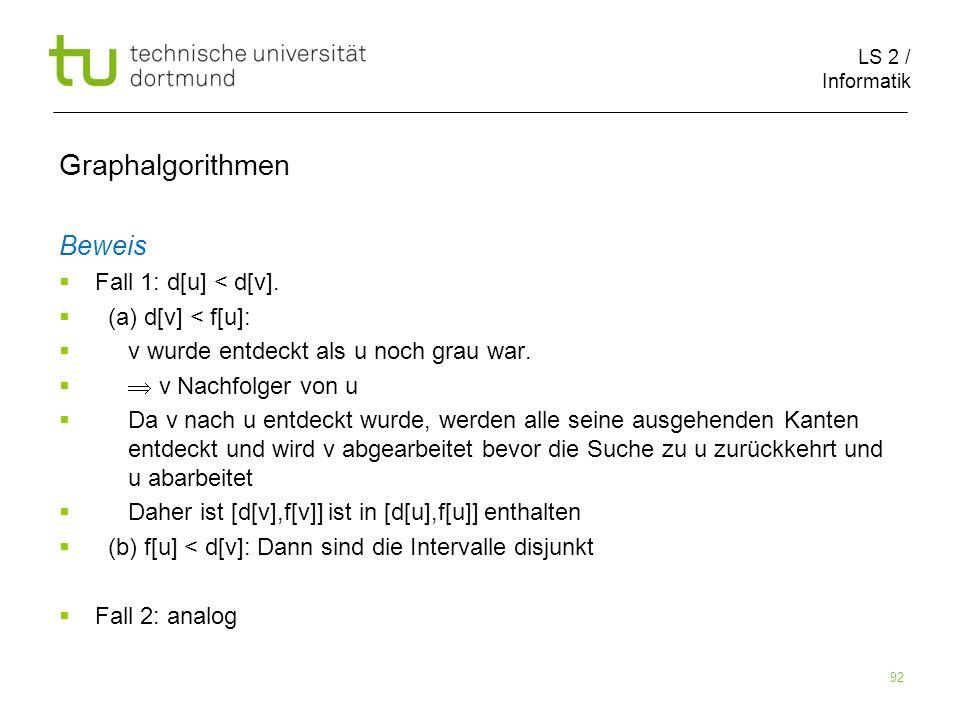 LS 2 / Informatik 92 Beweis Fall 1: d[u] < d[v].