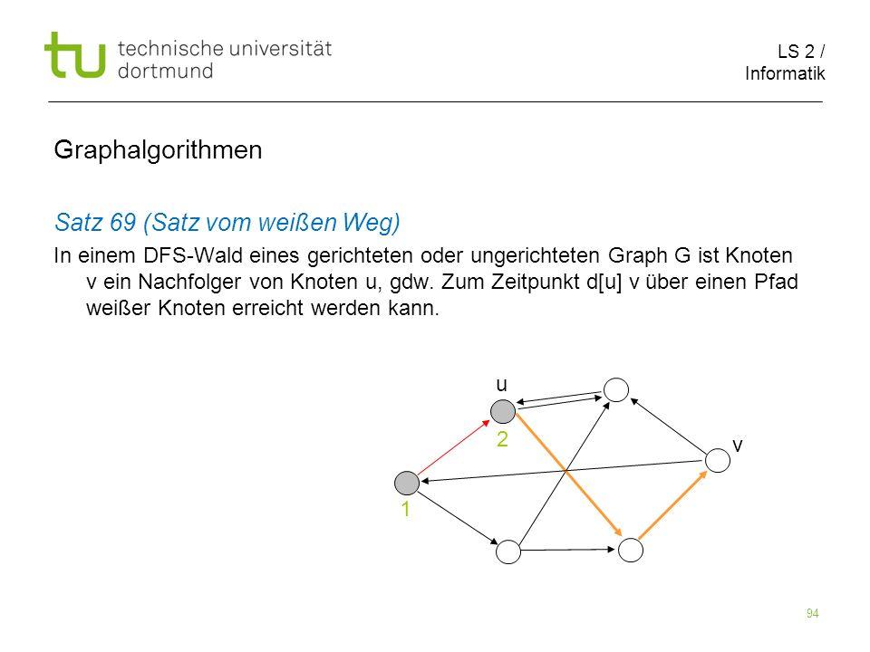LS 2 / Informatik 94 Satz 69 (Satz vom weißen Weg) In einem DFS-Wald eines gerichteten oder ungerichteten Graph G ist Knoten v ein Nachfolger von Knoten u, gdw.