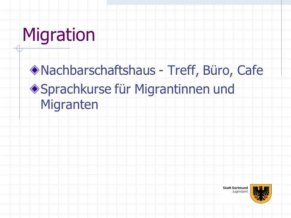 Migration Nachbarschaftshaus - Treff, Büro, Cafe Sprachkurse für Migrantinnen und Migranten