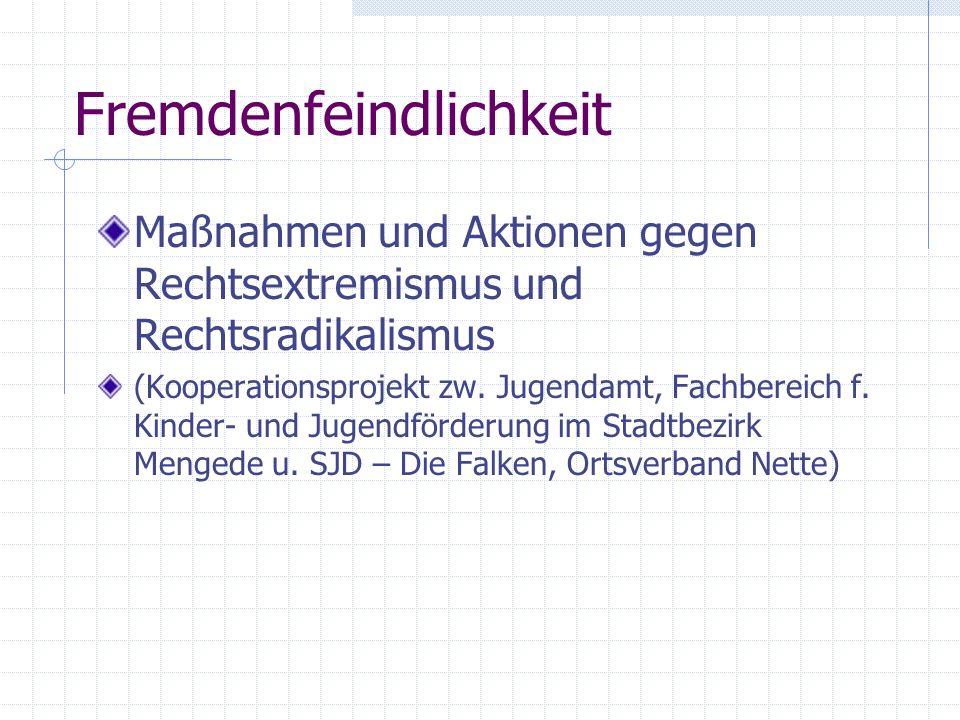 Fremdenfeindlichkeit Maßnahmen und Aktionen gegen Rechtsextremismus und Rechtsradikalismus (Kooperationsprojekt zw. Jugendamt, Fachbereich f. Kinder-