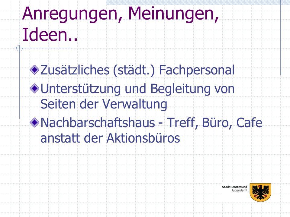 Anregungen, Meinungen, Ideen.. Zusätzliches (städt.) Fachpersonal Unterstützung und Begleitung von Seiten der Verwaltung Nachbarschaftshaus - Treff, B