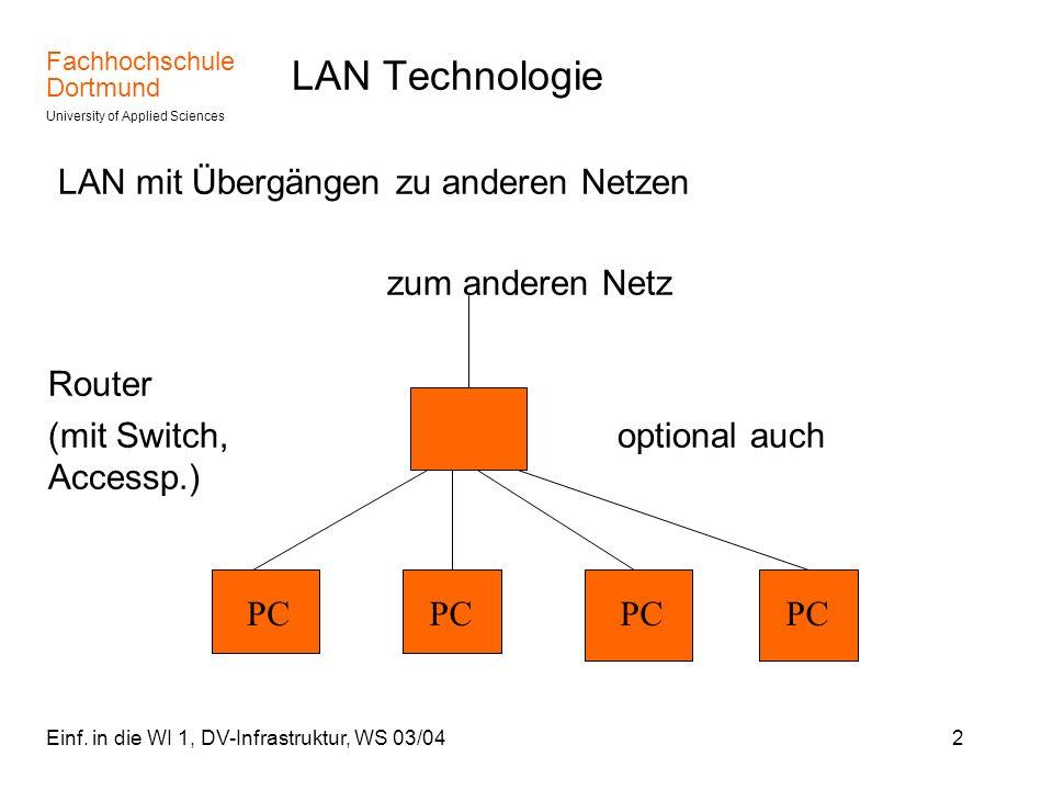 Fachhochschule Dortmund University of Applied Sciences Einf. in die WI 1, DV-Infrastruktur, WS 03/042 LAN Technologie LAN mit Übergängen zu anderen Ne