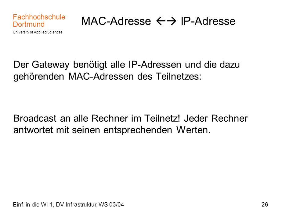 Fachhochschule Dortmund University of Applied Sciences Einf.