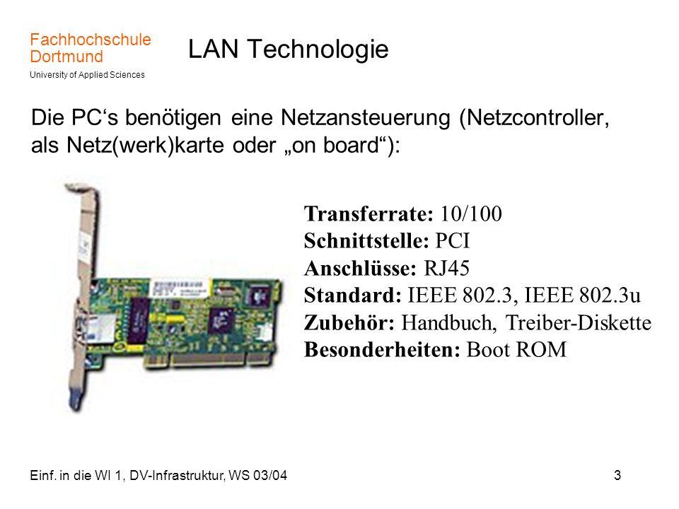 Fachhochschule Dortmund University of Applied Sciences Einf. in die WI 1, DV-Infrastruktur, WS 03/043 LAN Technologie Die PCs benötigen eine Netzanste